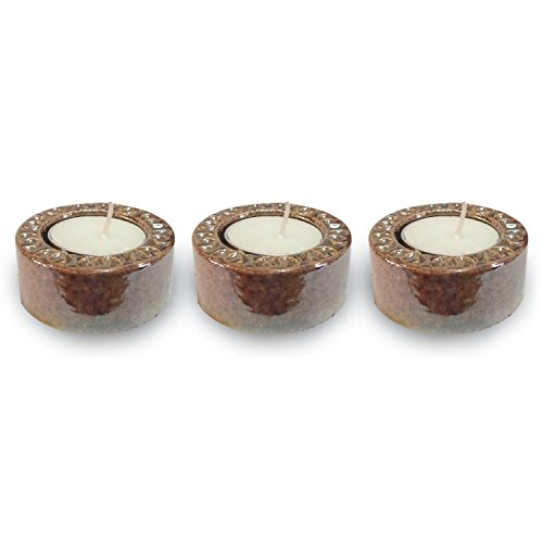 TYYC New Year Candles And Diyas Glazed Metallic Copper Tealight Candle Holders Set Of 3 | New Year Tea Lights T-lites Candles Lights | New Year Gifts For Home Decoration Items Home Decor