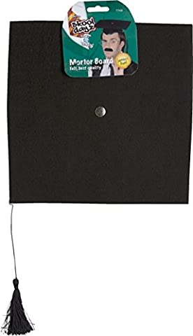 Smiffy's Deluxe Mortar Felt Board Hat with Tassel - Black