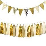 Dusenly Vintage Dreieck Fahnen Gold Glitter Wimpel Bunting Banner und Seidenpapier Quasten Girlande Set für Hochzeit, Brautdusche und Geburtstagsfeier Dekorationen Lieferungen (Gold)