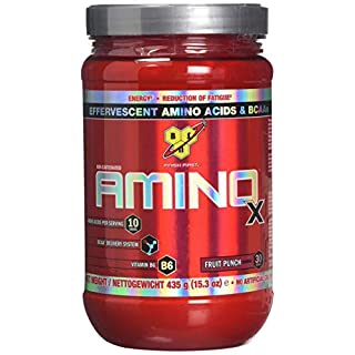 BSN Amino X Muscle Support Powder Supplement with Vitamin D, Vitamin A & Amino Acids. BCAA powder by BSN - Fruit Punch, 30 Servings, 435g