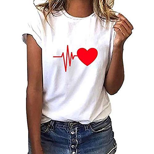 (QYS Womens Top !! JSPOYOU Frauen Herbst Langarm Herz Gedruckt Tops Sweatshirt Pullover Lässige Bluse,white1)