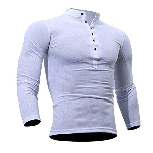 DAY.LIN T Shirts Männer Herren Männer Frühling Herbst Baumwolle T-shirt Männer Einfarbig T-shirt Langarm Top Herren Einfarbig Casual Top (Weiß, 2XL=EUL) (Für Jungen Skinny-anzüge)