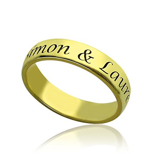 Yanday Namensringart und weise 18ct Gold Plated Silber 72 (22.9) (Gold-plated Jade Und Diamant-ring)