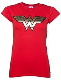 Wonder Woman Gold Logo Damen T Shirt Rot
