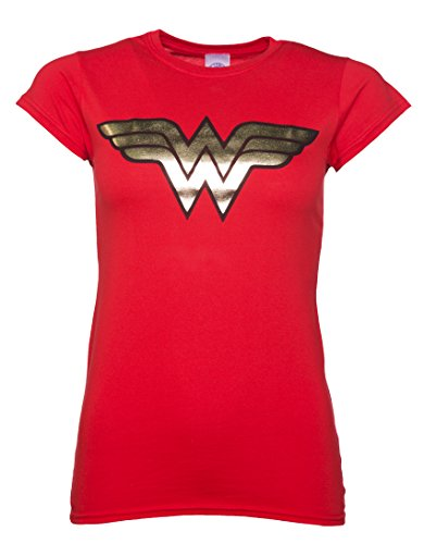 Womens Red Wonder Woman Gold Logo T Shirt