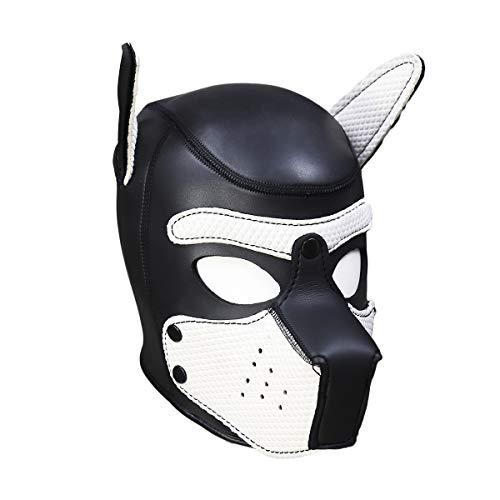usmley Petplay Puppy Maske Schwarz Hundemaske Leder mit Ohren,Unisex Einheitsgröße -