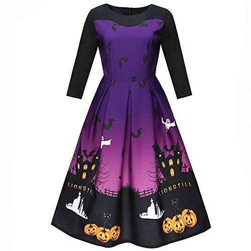 TEBAISE Halloween Retro 3/4 Ärmel mit Stoffdruck Vintage Rockabilly Swing Kleid/Cocktailkleid Herbstkleid(Lila,M)