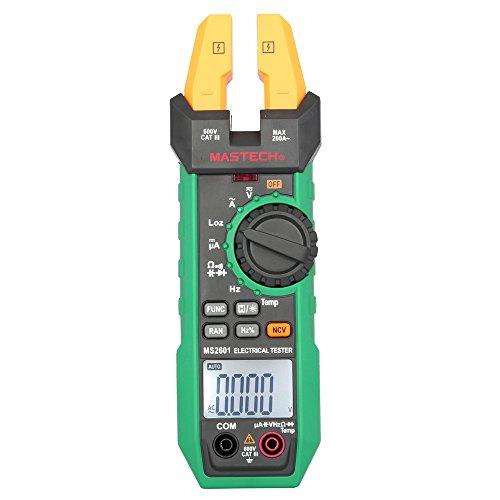 MASTECH Multimetro Pinza Amperometrica Clamp Meter, LCD Tester di DC / AC Tensione Corrente Resistenza Capacità Diodo Frequenza Temperatura