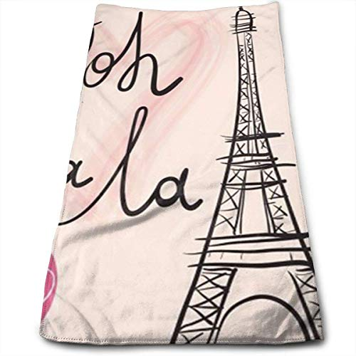 DDHHFJ Paris Eiffel Tower Bath Towels for Bathroom-Hotel-Spa-Kitchen-Set - Circlet Egyptian - Highly Absorbent Hotel Quality Towels 12