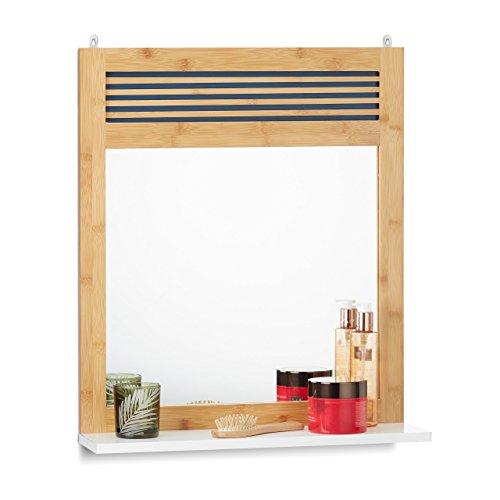 Relaxdays Badspiegel mit Ablage, verzierter Wandspiegel, Bambus Badezimmerspiegel HBT: 61 x 53 x 15 cm, Natur/weiß, Spiegelglas, Standard - Standard-holz-spiegel