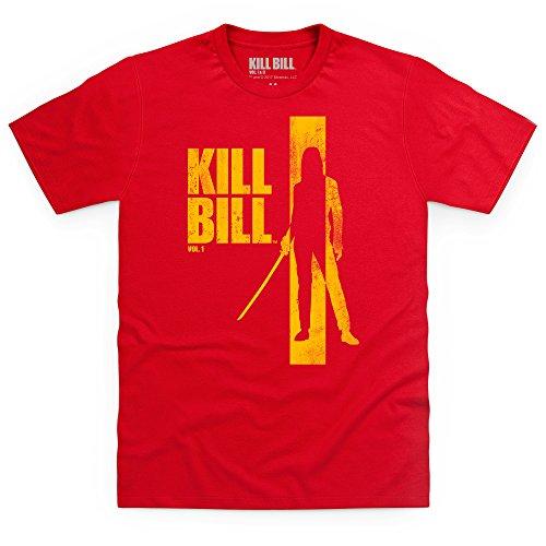 Official Kill Bill Vol 1 Distressed Yellow Logo T-Shirt, Herren Rot