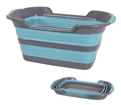 Spetebo Wäschekorb faltbar 60x40 cm - Faltbarer Wäschesammler aus Silikon und Kunststoff - Aufbewahrungskorb einfach klappbar