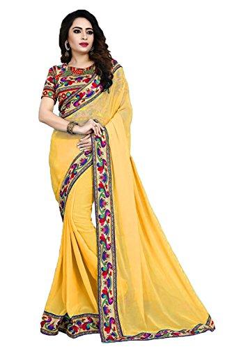 Fancy Saree Chiffon Silk Saree With Blouse Piece (FC Manbhari Lemonyellow_Gold_Free Size)