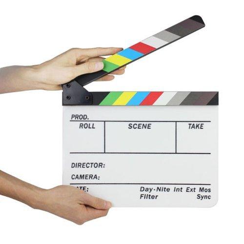 e Klöppel Bord Direktor TV Film Movie Cut Action-Szene Schnitt Clapper Board Slate Clapboard Schindel mit Bunten Streifen (Movie Clapboard)