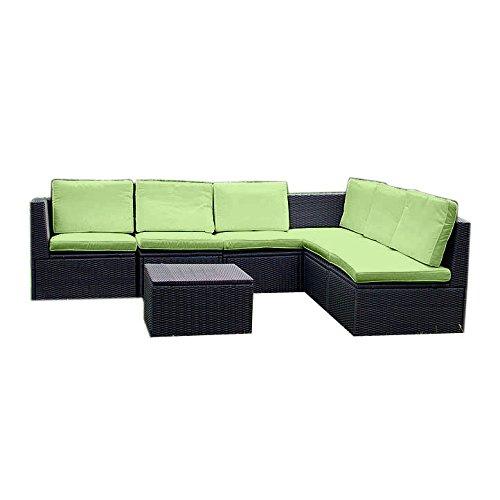 Nexos Edle Sitzgarnitur – Polster grün/Poly Rattan schwarz – Stahlgestell – Sitzgruppe Gartenmöbel Rattan-Lounge massiv