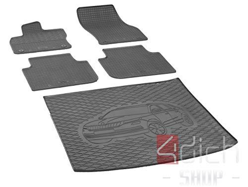 Passgenaue Kofferraumwanne und Gummifußmatten geeignet für Skoda Kodiaq 5-Sitzer ab 2017 - EIN Satz