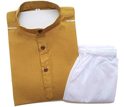 TinySteps Baby Boy's Cotton Summer Wear Kids Ethnic Kurta Pyjama Set (Mustard, 6-7 Years)