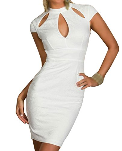 Dissa® blanc gaufré serrure découpe Vintage robe,Blanc Blanc