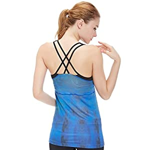icyzone Damen 2 in 1 Sport Yoga Tops mit BH – Gym Shirts Fitness Trainings Tank Top