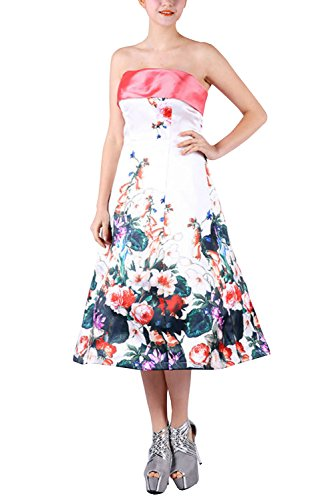 BRLMALL Women's Strapless Satin Printed Floral Tea-Length Party Prom (Tanz Tea Party Kostüm)