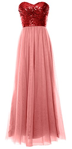 MACloth Women Long Bridesmaid Dress Strapless Sequin Wedding Party Formal Gown Red-Blush Pink