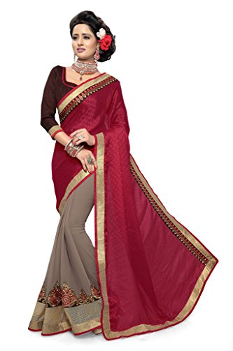 SOURBH Women's Jacquard and Faux Georgette Saree (2588_Maroon,Mink)  available at amazon for Rs.1295