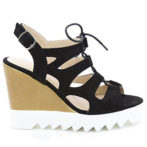 Toocool - Scarpe donna open toe sandali zeppa effetto stringhe Queen Helena nuove X17-18 Nero