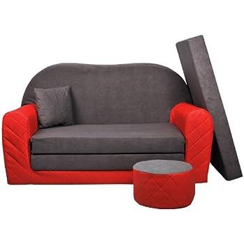 Sofa enfant 2 places convertibles Bi-color rouge/gris W282 03