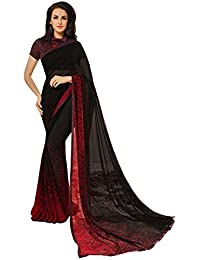 Craftsvilla Women'S Georgette Saree With Blouse Piece (Avan-0001_Black)