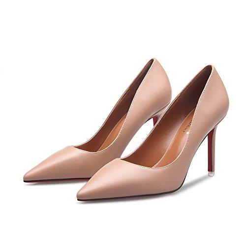 AalarDom Femme Tire Couleur Unie Pointu Stylet Chaussures Légeres Nu