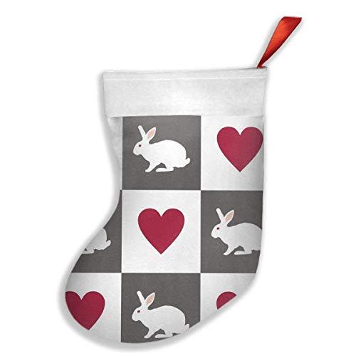 White Heart Lace Socken (Estrange Christmas Stockings White Rabbit Hearts Stocking with White Polyester Cuff)