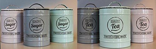 XL Kaffeedose Aromadose Coffee Vintage Tea Suger Dose Vorratsdose Nostalgie (Kaffee, Grau)