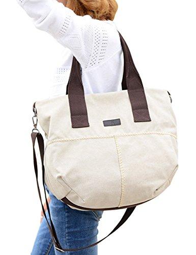 PB-SOAR Damen Vintage Canvas Schultertasche Umhängetasche Handtasche Henkeltasche Freizeittasche Beuteltasche, Schultertasche mit abnehmbarer Schultergurt, 5 Farben auswählbar (Khaki) Milchweiß