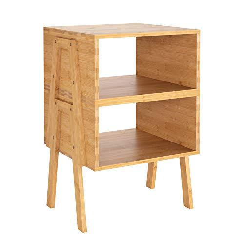 Homfa Nachttisch Nachtschrank Bambus 2er Set Nachtkommode mit offenem Fach stapelbar Wohnzimmer Schlafzimmer 42x28x63cm