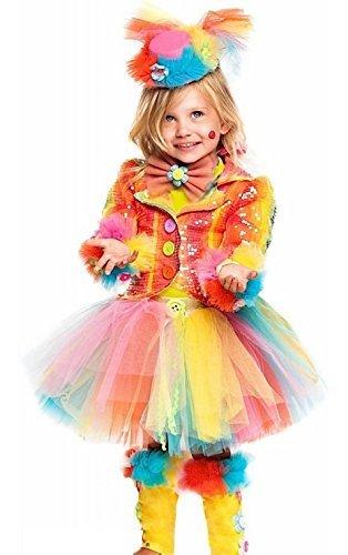 e Herstellung Mädchen Deluxe Rainbow Clown Zirkus Karneval Halloween Kostüm Kleid Outfit 1-10 Jahre - 4 years (Clown Outfits Für Halloween)