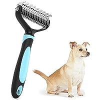 Ploopy Premium Hundebürste, Katzenbürste, Pflegebürste, Massage Hundekamm für Mittel bis Lang-Haar, Fellkamm auch für Große Katzen und Hunde, 17+9 Präzisionsklingen (Blau)