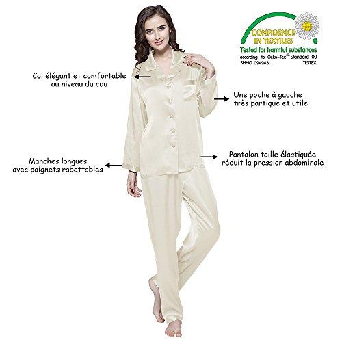LILYSILK Ensemble de Pyjama pour Femme en 100% Soie 22 Momme Manches Longues, Certificat OEKO-TEX Standard 100 Noir