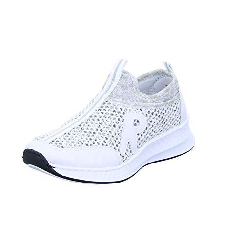 Rieker Damen N5654-81 Slip On Sneaker, Weiss-Silber/Silverflower 81, 38 EU