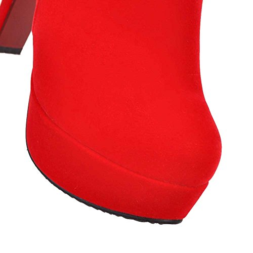 VogueZone009 Donna Pelle Di Mucca Bassa Altezza Chiodato Cerniera Tacco Alto Stivali Rosso