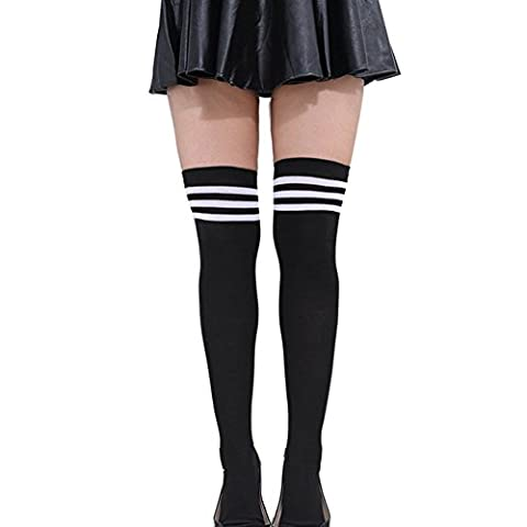 Butterme Femmes extra longues Cuissardes Socks Athletic Tube Football Rugby Football Cheerleader Sport Chaussettes couleur vive avec Triple Classique Stripes