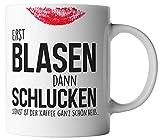 vanVerden Tasse Erst Blasen dann Schlucken sonst ist der Kaffee heiß Fun Mug, Farbe:Weiß/Bunt