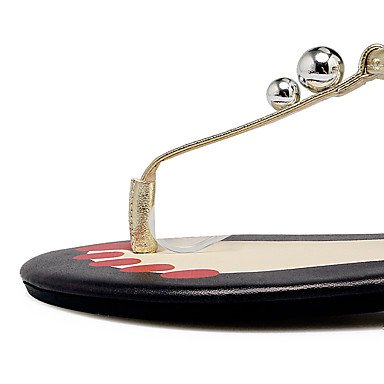Rtry Femme Vache Sandales En Cuir Slingback Talon Plat Sandel Flat Tip Noir / Blanc / Or Us5 / Eu35 / Uk3 / Cn34