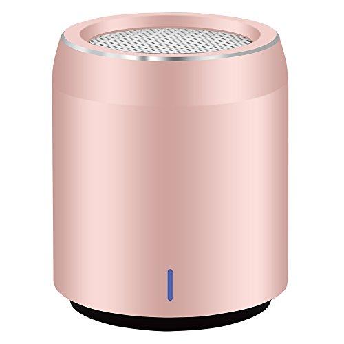 Altavoz Bluetooth Usmain Tamaño de Huevo Reproductor en Rstéreo Mp3, Caja Subwoofer Portátil con Micrófono, Inalámbrico, para Casa y Exterior incluye Salida Auxiliar para Introducir un Cable-Oro Rosa