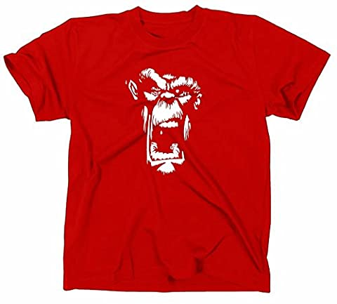 Gorilla Singe Ape – T-Shirt – Emo/Punk/Rock, T-shirt XL rouge