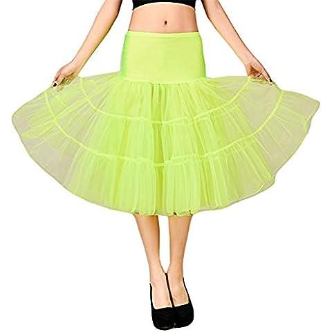 Hosaire 1X Sottogonna battenti Vintage Petticoat Fancy Net Gonna Rockabilly Tutu (Verde chiaro), Le ragazze e le donne sono la scelta migliore, Gonne,S