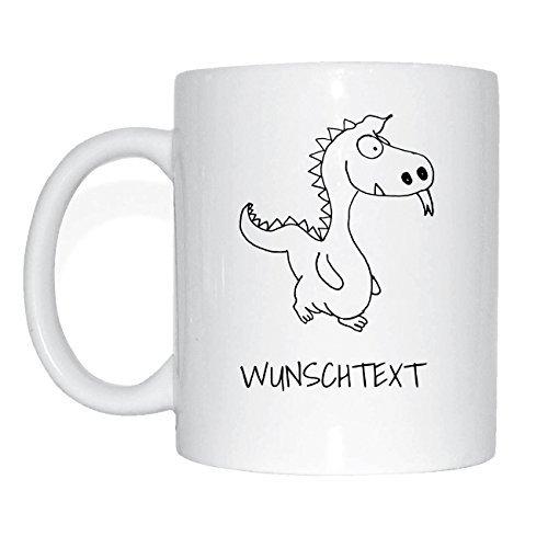 JOllipets WUNSCHTEXT Namen Geschenk Kaffeetasse Tasse Becher Mug PM0000 - Farbe: weiss - Design: Drache