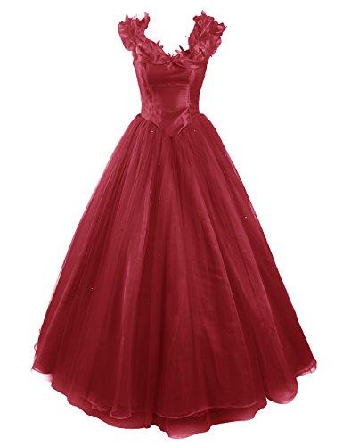 Dresstells Damen Wunderschön Prinzessin kleider Karnevalskostüme Ballkleider Cinderella Dunkelrot