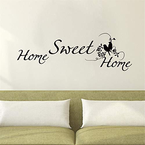 Home Sweet Home Wandaufkleber Vinyl Abnehmbare Doppel Vögel Wandtattoos Wohnzimmer Schlafzimmer Dekoration Kaffee 130x42 cm ()