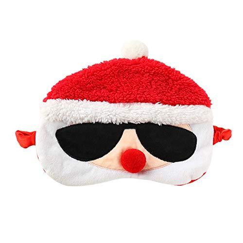 Ulife Mall Lustig Weihnachtsmann Schlafmaske Weihnachten Plüsch Schlafbrille Augenbinde für Schlafen Reisen Augenmaske Schlafmasken Augenabdeckung für Kinder Mädchen Jungen Damen, Rot
