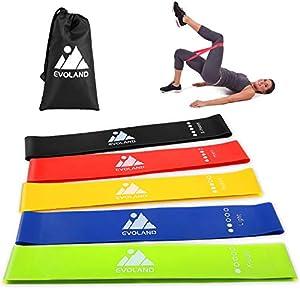 AGM Fitnessbänder Widerstandsbänder,5 Stärke Resistance Band Krafttraining Fitnessband Gymnastikband für Yoga, Physiotherapie Pilates und Effektives Training Zuhause